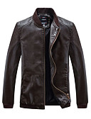 cheap Men's Jackets & Coats-Men's Sports Vintage Leather Jacket - Solid Colored / Long Sleeve