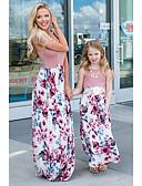 povoljno Obiteljski komplet odjeće-Mama i mene Osnovni / slatko Hlače - Cvjetni print / Color block Kolaž / Print Blushing Pink / Party / Maxi / Izlasci / Dijete koje je tek prohodalo