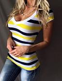 billige Topper til damer-Bomull Tynn Dyp V T-skjorte Dame - Stripet Grunnleggende