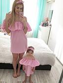 זול סטים של בגדים למשפחה-שמלה שרוולים קצרים אחיד בסיסי אמא ואני מבוגרים