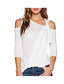 baratos Saias Femininas-Mulheres Camiseta Básico / Moda de Rua Frente Única / Cordões, Sólido