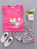 זול סטים של ביגוד לתינוקות-סט של בגדים כותנה שרוולים קצרים דפוס פרחוני שמש פרח ליציאה יום יומי / פעיל בנות תִינוֹק / פעוטות
