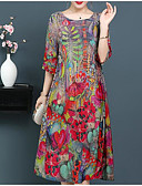 رخيصةأون فساتين قياس كبير-فستان نسائي قياس كبير كلاسيكي عصري عتيق مطوي - قطن طول الركبة الأحمر والأسود لون سادة كم منفوخ, مناسب للخارج