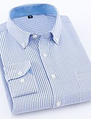 cheap Men's Shirts-Men's Work Business / Basic Cotton Shirt - Solid Colored / Striped Blue 41 / Long Sleeve