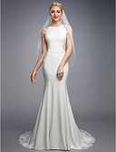 cheap Wedding Dresses-Mermaid / Trumpet Bateau Neck Court Train Chiffon / Lace Made-To-Measure Wedding Dresses with Appliques / Buttons / Lace by LAN TING BRIDE® / Beautiful Back