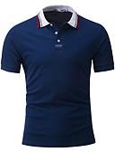 お買い得  メンズパンツ&ショーツ-男性用 Polo ビジネス / 活発的 シャツカラー カラーブロック コットン ネイビーブルー XXL / 半袖