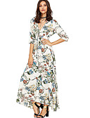 cheap Print Dresses-Women's Going out Maxi Slim Sheath Dress Deep V White Black Beige M L XL / Sexy