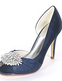 cheap Wedding Dresses-Women's Shoes Satin Spring & Summer Basic Pump Wedding Shoes Stiletto Heel Peep Toe Rhinestone Royal Blue / Champagne / Ivory / Party & Evening