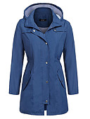 cheap Women's Trench Coat-Women's Trench Coat - Solid Colored / Striped / Color Block, Patchwork