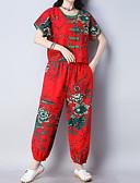 ieftine Costum Damă Două Bucăți-Pentru femei Vintage / Chinoiserie Set - Floral / Plisat, Pantaloni
