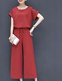 abordables Camisas y Camisetas para Mujer-Mujer Blusa - Un Color Escote en U Pantalón