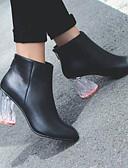 povoljno Baloner-Žene Cipele Mekana koža Jesen zima Modne čizme Cipele na petu Translucent Heel Zatvorena Toe Čizme gležnjače / do gležnja Crn