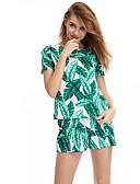 povoljno Ženski jednodijelni kostimi-Žene Veći konfekcijski brojevi Osnovni Pamuk Puff rukav  Odjeća za igru - Rese, Jednobojni / Geometrijski oblici