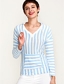 זול חולצות לנשים-פסים צווארון V Polo - בגדי ריקוד נשים בסיסי