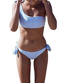 tanie Bikini i odzież kąpielowa 2017-Damskie Podstawowy Halter Czerwony Rumiany róż Żółty Bandeau (opaska na biust) Dół typu Cheeky Bikini Stroje kąpielowe - Prążki M L XL / Seksowny