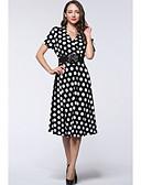 رخيصةأون فساتين مطبوعة-فستان نسائي قياس كبير متموج قطن ميدي منقط خصر عالي V رقبة مناسب للخارج / مثير