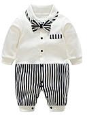 זול חולצות לתינוקות לבנים-מקשה אחת One-pieces כותנה שרוול ארוך טלאים פסים בסיסי בנים תִינוֹק