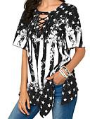 baratos Blusas Femininas-Mulheres Camiseta Básico / Boho Estampa Colorida