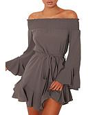 ieftine Rochii de Damă-Pentru femei Mărime Plus Size Bumbac Sleeve Flare Shift Rochie Mată De Pe Umăr Mini / Primăvară