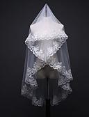 hesapli Gelin Duvakları-Tek kat Çiçek Stili / File / Dönüştürülebilir Elbisi Gelin Duvakları Omuz Başlığı ile Dağınık Boncuklu Çiçek Motifi Tarzı 59.06 inç (150cm) POLİ / Tül / Oval