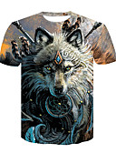 cheap Men's Tees & Tank Tops-Men's Club Basic / Street chic T-shirt - Color Block / Animal Wolf, Print Round Neck Brown XXL / Short Sleeve / Summer
