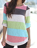 cheap Women's T-shirts-Women's Going out Basic / Chinoiserie Cotton Slim T-shirt - Solid Colored / Striped Patchwork / Print / Summer