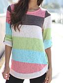 billige T-skjorter til damer-Bomull Tynn T-skjorte Dame - Ensfarget / Stripet, Lapper / Trykt mønster Grunnleggende / Chinoiserie Ut på byen / Sommer