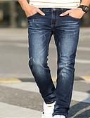 baratos Abrigos e Moletons Masculinos-Homens Básico Jeans Calças - Sólido