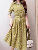 povoljno Ženske haljine-Žene Veći konfekcijski brojevi Vintage Pamuk Puff rukav  Shift Haljina - Drapirano, Jednobojni Do koljena Crno-bijela