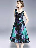 זול שמלות נשים-מידי דפוס, פרחוני - שמלה גזרת A וינטאג' / סגנון רחוב בגדי ריקוד נשים