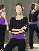Χαμηλού Κόστους T-shirt-Γυναικεία Κοστούμι γιόγκα Μαύρο Βυσσινί Μαύρο /  Άσπρο Αθλητισμός Βαμβάκι Spandex Σετ Ρούχων Zumba Τρέξιμο Fitness Μισό μανίκι Μεγάλα Μεγέθη Ρούχα Γυμναστικής Αναπνέει Ελαστικό