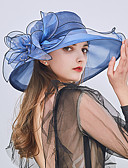 cheap Women's Hats-Women's Party / Holiday Bucket Hat / Floppy Hat / Straw Hat - Patchwork Ruffle