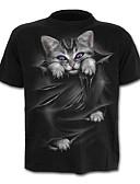 preiswerte Herren T-Shirts & Tank Tops-Herrn Solide / Tier - Aktiv / Grundlegend T-shirt Katze