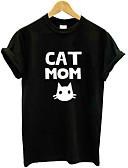 voordelige Dames T-shirts-Dames T-shirt dier / Letter Zwart