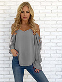 cheap Women's T-shirts-Women's Active / Basic Blouse - Solid Colored Backless / Lace up