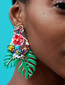 tanie Sukienki koktajlowe-Damskie Kolczyki drop - Kwiatowe / Roślinne Kształt listka Kwiat damska Europejskie Moda Biżuteria Czerwony / Zielony / Jasnoróżowy Na Codzienny Biuro i kariera 1 para