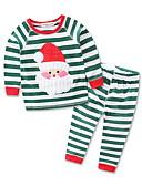 ieftine Accesorii de Baie-Copil Băieți Activ / Șic Stradă Crăciun / Zilnic / Concediu Dungi Brodat Manșon Lung Regular Spandex Set Îmbrăcăminte Trifoi 100