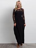cheap Romantic Lace Dresses-Women's Party Slim Swing Dress - Solid Colored Black, Lace Maxi