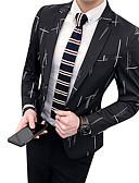 povoljno Muške majice i potkošulje-Muškarci Izlasci / Rad Jesen zima Normalne dužine Sako, Geometrijski oblici V izrez Dugih rukava Poliester Crn / Navy Plava XL / XXL / XXXL