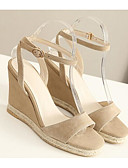 cheap Women's Dresses-Women's Shoes Sheepskin Summer Comfort Sandals Wedge Heel Black / Almond