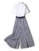 cheap Women's Two Piece Sets-Miss French Women's Set - Striped Pant