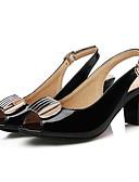 preiswerte Damen Kleider-Damen Schuhe PU Sommer Komfort Sandalen Blockabsatz Weiß / Schwarz