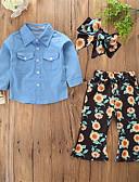 Χαμηλού Κόστους Φορέματα για κορίτσια-Μωρό Κοριτσίστικα Καθημερινό / Ενεργό Καθημερινά / Αργίες Φλοράλ / Στάμπα Στάμπα Μακρυμάνικο Κανονικό Spandex Σετ Ρούχων Θαλασσί / Νήπιο