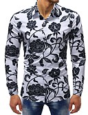 cheap Men's Shirts-Men's Basic Cotton Slim Shirt - Floral Print / Long Sleeve