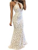 baratos Vestidos de Noite-Mulheres Feriado Delgado Bainha Vestido Gola Redonda Longo / Primavera