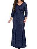 cheap Wedding Dresses-Women's Plus Size Daily Basic Maxi Slim Sheath Dress - Solid Colored V Neck Fall Navy Blue 4XL XXXXXL XXXXXXL