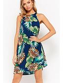 cheap Print Dresses-Women's Basic Slim Sheath Dress - Floral Print Halter Neck / Summer