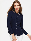 cheap Women's T-shirts-Women's Cotton Shirt - Solid Colored Shirt Collar / Spring / Summer / Lace up
