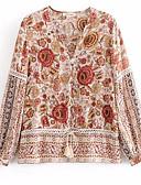 ieftine Tricou-Pentru femei În V Tricou Ieșire Floral