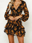 cheap Print Dresses-Women's Daily Going out Basic Elegant Lantern Sleeve Slim Chiffon Dress - Floral Ruffle High Waist Deep V Spring Blue Yellow M L XL / Sexy